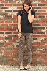 Charlotte Crowley - H&M Black Tshirt, Bebop Leopard Jeans, New Look Black And White Flats - Leopard and Pearls