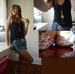 Kay H - My Friend (: Floral Oxfords, H&M Denim Stretch Waist Shorts, H&M Black Top - Stop Thinking I'm Somebody Else