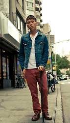 Tim Tsai - American Eagle Ae Denim Jacket, Gap Lived In Slim Khaki, American Apparel Baby Rib Fitted T, John Varvatos Leather Hipster Chukka - Last days of Summer