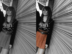 Ro Alvarez - Nirvana Shirt, Bershka Leather Skirt, Zara Cardigan - We had seasons in the sun