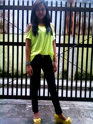Bianca Bonilla - Thrifted Cut Off Neon Top - Casual Wednesday: NEON BLAST