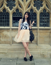 Hannah Victoriaa - Brighton Lanes Sonic Youth Vest, Chiffon Skirt, Mulberry Tillie Tote, Creepers - Sonic Youth (Bath Day 2)
