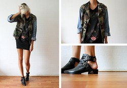 Sietske L - The Ragged Priest Studded Military Jacket, Zara Panther Tee, Choies Cut Out Boots - The black panther