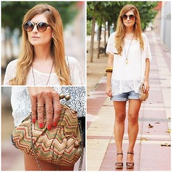 A TRENDY LIFE - Gina Tricot Top, Zara Shorts, Fosco Bag, Fosco Wedges - MISSONI BAG AND SANDALS