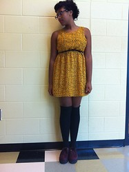 Lauren Williams - Forever 21 Glasses Dress, Cut Myelf Over The Knee Socks, Ebay Burgundy Creepers - Welcome to the 50s