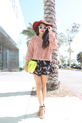 Amy Lee - American Apparel Rosette Jumper, Twiggy Sunnies, Cambridge Satchel Fluro - Roses on my sweater, shoes on my skirt