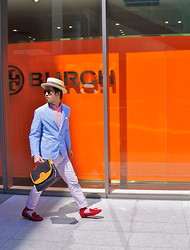 Hajime Yamamoto - Boaters Hat, Uniqlo Cotton Blazer, Uniqlo Lavender Cotton Pants, Ikka Red Leather Loafer - IN MY DREAMS