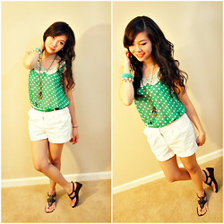 Maricris Lucero - Forever 21 Green Polka Dot, Forever 21 Plain White Short, Nine West Brown Patterned Sandals - From green to white...