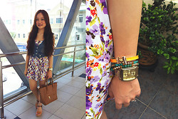 Ashley Liew - Forever 21 Turqoise Bead Bangles, Asos Gold Square Face Boyfriend Watch, Denim Vest, Floral Dress, Brown Bag, Brown Wedges, Hermës Hermes Inspired Bangle - An effortless summer