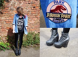 ○○✝Ashley Dolan✝○○ - Urban Outfitters Oversized Denim Shirt With Gold Collar Tips, Black Milk Clothing Velvet Leggings, Ebay Jack Daniels Tank, Jeffrey Campbell Black Tardy Boots, Ebay Jurassic Park Badge - Everything Everything- Cough Cough