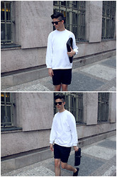 Martin Tichy - H&M Sunglasses, Vintage Basic White Sweatshirt, H&M Basic Shorts, Zara Leather Clutch, H&M Suede Shoes - TONGUE TIED