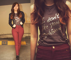 Joyce Cai - People Are Shirt, Landmark Pants, Sm Department Store Mini Blazer, Zara Boots - I don't like it