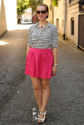 Stacey L - Forever 21 Striped Blouse, Zara Hot Pink Skirt, Sam Edelman White Wedges - Pink and stripes
