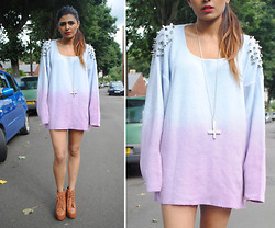 Kavita D - Jeffrey Campbell Lita, Youwearfashion Studded And Spiked Sweater - Lavender Spikes