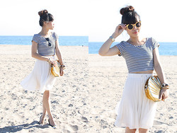 Toshiko S. - Misope Stripes Crop Top, Asos Gold Frame Sunglasses, Sway Gold Seashell Purse, Forever 21 White Pleated Chiffon Skirt, Forever 21 Gold Tipped Black Flats - Golden Seabright