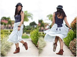 Virna Alyssa Cabuhat - Maxi Skirt, River Island Midnight Blue Top - These Boots Are Made For Dancin'