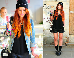 Kate Pe. - Bracelets, Beanie, Moto Boots, Minkpink Mink Pink Shorts, Camera Bag, Top, Spike Necklace, Unif Americana Dream Jacket - Local pirate!