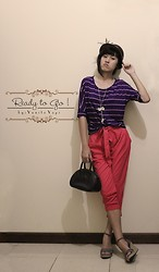 Yunita Yapi - Lil' Woman Purple Stripe Pink, Yuan Pink Preppy Pants, Esprit Navy Bag, Brown Bowler Hat - Ready to GO !