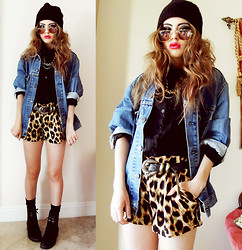 Bebe Zeva - The Cobrashop Gold Rimmed Glasses, Yes Style Leopard Shorts, Yes Style Lace Up Boots - OFF THE CHAIN