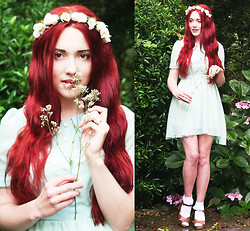 Megan McMinn - Peter Pan Collar Dress, Flower Headband, New Look Sandals - BABY'S BREATH AND MINT.