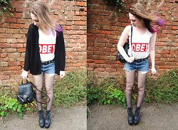 ○○✝Ashley Dolan✝○○ - Obey Tee, Levi's® Levi Shorts, Jeffrey Campbell Black Tardy Boots, Topshop Black Cardi, Primark Black Backpack - Matt Corby- Lonely Boy