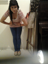 Ferefefe Candy Doll - Stripped Tshirt, Blue Jeans, Golden Flats - The marvelous misadventures of Flapjaaaack♫