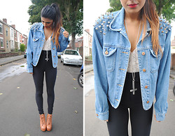 Kavita D - Jeffrey Campbell Lita, Youwearfashion Studded And Spiked Denim Jacket, Youwearfashion Lace Bustier, American Apparel Riding Pants Xs - Spike Shoulders