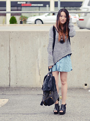 Tessa M - Helmut Lang Sweater, Sandro Skirt, Steve Madden Wedges, Navoh Backpack - Parking lot diaries
