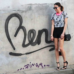 Nina Maya - Asos Printed Tee, Zara Cropped Shorts, H&M Fluoro Neckpiece - LITTLE OXFORD LANE