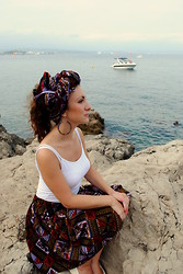 Iryna G - Hand Made African Skirt, Hand Made Turban, From Cameroon Earrings - Antilles ou Antibes?