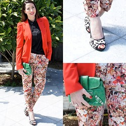 Yvette H - Zara Blazer, Zara Floral Pants, Country Road Silk Button Down, Midas Leopard Peep Toe Heels, Balenciaga Pouch - Red & Green should never be scene?