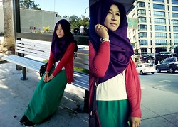Fha Azmi - Rubi Malfoy Hi Top, Purple Pashmina, Bright Green Maxi, Chicabooti Crop Tee, Cotton On Bright Red Cardi - Be Bold- Wear Them Colours B-Right!