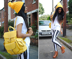 Kavita D - Grafea Yellow Leather Rucksack, Ebay Yellow Bobble Knit Hat, Glamorousuk Stripe Jeans, Jeffrey Campbell Litas, Zara White Open Back Tee - Grafea