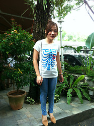 Ashley Liew - Rib Tee, Leather Quilted Bag, Topshop Skinny Jeans, Vincci Brown Flats - Prime Ribs