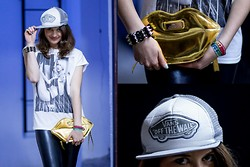 Zuzanna Niedzielska - Vans Trucker Hat, River Island White T Shirt, River Island Lips Clutch Bag - Gold Usta Me Gusta