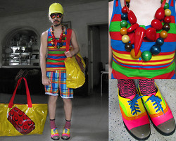 Andre Judd - Yellow Angular Visor Baseball Cap, Lego Brick Bag, Color Block Striped Tank, Wooden Bead Neckpiece, Red Resin Neckpiece, Sublimation Check Print Boardies, Fuchsia Check Socks, Multi Color Neon Patent Brogues - TRIP TO LEGOLAND
