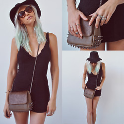 Rae Shoemaker - Rvca Hat, Urban Outfitters Cat Eye Sunnies, Back Stage* Silver Rings, Alainn Bella Spiked Pony Hair Crossover Bag, Urban Outfitters Sparkle & Fade Knit Dress - Colors may fade, heartbeats may stop...