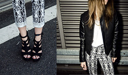 Natalia Pola - H&M Printed Jeans, H&M Leather Jacket - NO SCHOOL PLEASE