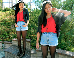 Joanna Tam - Diy Turban, Gap Tank Top, Levi's® Shorts, Target Dot Tights, Urban Outfitters Necklace, Nordstrom Boots - Young Blood.