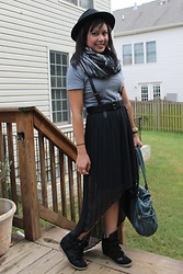 Clariza Jane - Bcbg Harness Belt, Michael Kors Gold Watch, Urban Outfitters Fedora, H&M Scarf, American Apparel Tshirt, Xhilaration Hi Lo Skirt, Sneaker Wedges, Marc By Jacobs Purse - Going to Brunch