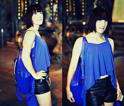 Camille K. - Taipei Nightmarket Blue Top, Undercover Blue Backpack, H&M Black Leather Shorts - Evening escape.