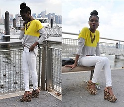 VintageVirgin Jessica - Gap Neon Colorblock Sweater, Zara White Skinnies, Target Leopard Wedges, Beginning Boutique Spiked Necklace, Vintage Leather Backpack Purse - NEON by the DOCKS