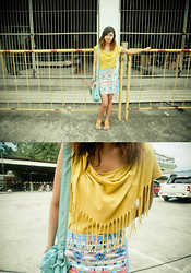 Kathleen Lira - Bubbles Aztec Skirt, Thrifted Yellow Fringe Top - Upsets and downfalls