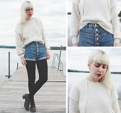 Therese Ahlström - Second Hand Angora Sweater, Beyond Retro Shorts - GOING DOWN TO THE LAKE