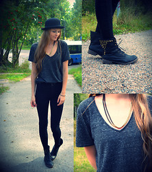 Ane Miu - H&M Shirt, Gina Tricot Necklace, H&M Hat, Carlings Jeans - Dark paradise