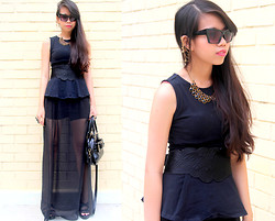 MASTURAH K. - Topshop Peplum Top, H&M Ear Cuffs, Asos Cat Shades, Miss Selfridge Bow Bag, The Scarlet Room Sheer Maxi Skirt, Mphosis Weaved Strap Wedges - Le Noir.