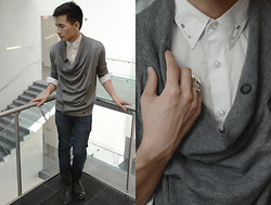 John Le - All Saints Hima Cardigan, All Saints Demise Boot, Cheap Monday Navy Skinnies, Alexander Mcqueen Harness Shirt, Filigree Ring - VMFA