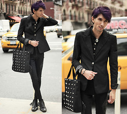 Bobby Raffin - Stud Fitted Blazer, Aldo Black Dress Shoes, Briel Watch, Mexico Dreamcatcher Bracelet, Vanessa Mooney Eagle Ring, Romwe Silver Ear Wing, Buttoned Vest, Vanessa Mooney Silver Tie Necklace, Frontrowshop Stud Tote Bag, Diamond Pants - NYFW Day 1