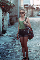 Anette Ivanova - Gabina Flats, Marc By Jacobs Sunglasses, Random Shop Bag, Diy Shorts - Road trippin