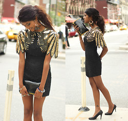 Menaka Iyer - Spring Feather Earrings, Vintage Black And Gold Sequin Dress, Nine West Sparkly Heels - That's a total of 47 Honks! ;) NYFW